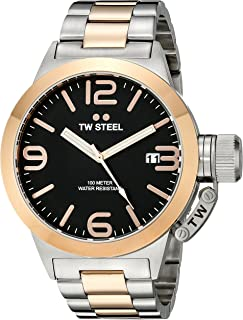 TW Steel Men's Black Dial Metal Band Watch - CB131