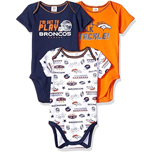 b538c2780 NFL Denver Broncos Unisex-Baby 3-Pack Short Sleeve Bodysuits, Blue, 3