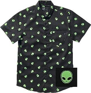 Alien Riding Dinosaur Hawaiian Shirt Alien Button Up Shirt Funny Alien Hawaiian Shirt