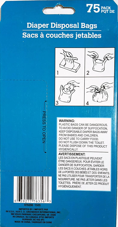 Diaper Disposal Bags, Fragrance Fresh 75 Bags, BPA Free