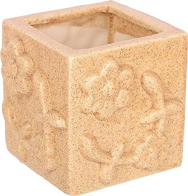 Lasaki Square Flowers Ceramic Pots for Indoor Plants,Planters,Flower pots,gamla for Succulent Pot (Color:Beige)(4 Inch)