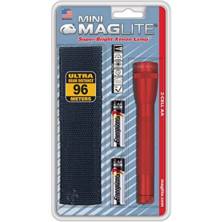 MagLite M2a03h Red Flashlight AA Mini Mag-Lite With Holster for sale online