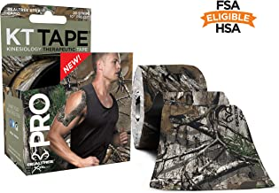 KT Tape Pro Kinesiology Therapeutic Sports Tape, 20 Precut 10 inch Strips, Latex Free, Water Resistance, Pro & Olympic Choice, Realtree Camo