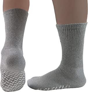Diabetic Socks Mens/Womens Non-slip Grip Cotton 6-Pack Ankle/Crew Three Colors By DEBRA WEITZNER