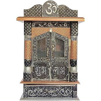 Amazon Com Aluminium Copper Oxidized Home Temple Mandir Ghar Mandir Pooja Mandir Furniture Decor