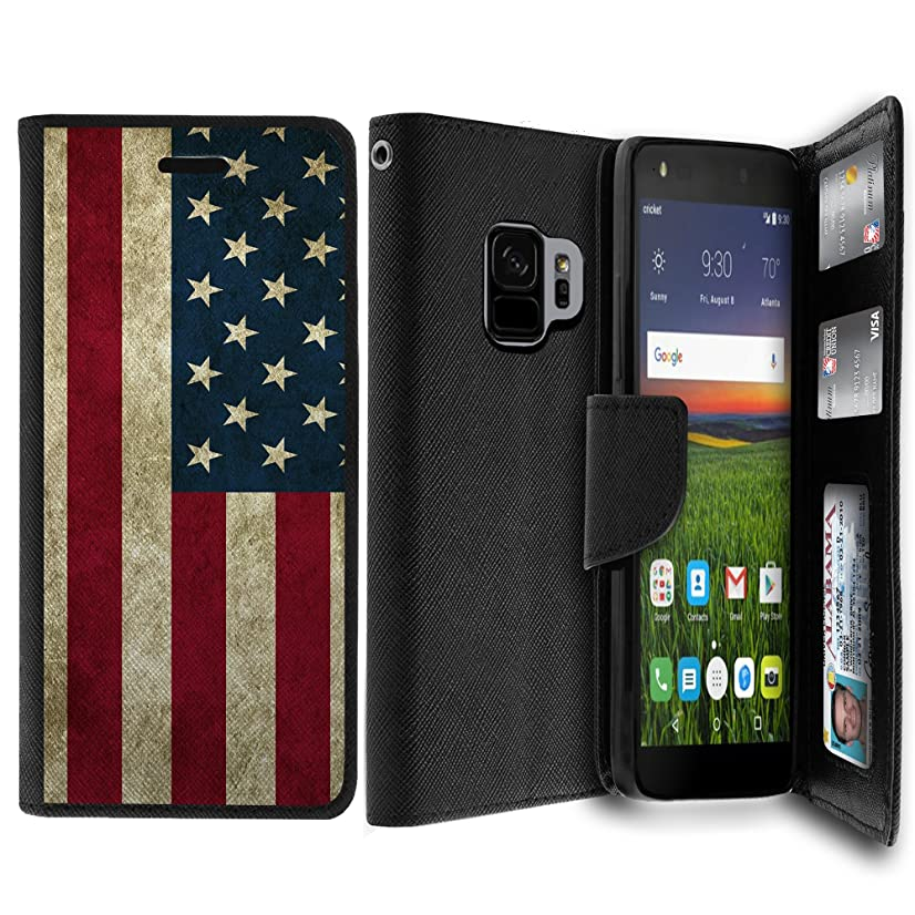 Untouchble|Case for Samsung Galaxy S9 Case, Galaxy S9 Flag Case [MAX WALLET] Durable Custom Wallet Case Magnetic Flap Card Slots Money Stand - Vintage America Flag