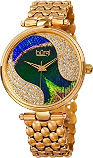 Unique Swarovski Crystal Peacock Feather Pattern Watch - Sparkling Crystal Colorful Dial and Case on Stainless Steel Bracelet Watch - BUR162