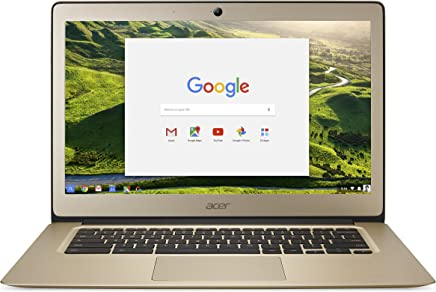 Acer Chromebook 14, aluminio, 14 pulgadas, HD total, Intel Celeron Quad-Core N3160, 4GB LPDDR3, 32GB, Chrome, CB3–431-C5FM, Dorado cromado , Oro Lujoso