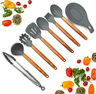 Silicone Cooking Utensils Set, 8 Piece Kitchen Utensil Set with Natural Acacia Wooden Handles, BPA Free Silicone Kitchen Cooking Utensils, Safe Cooking Tools for Non-stick Cookware, Best Holiday Gift
