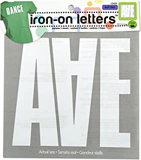 Dritz 15435 Iron-on Letters, Soft Flex, Block, 5-Inch, White (3-Sheets)