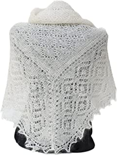 FEDELKEA Luxury Orenburg Shawl Wrap Lace Knitted Wool Goat Down Russian Handmade