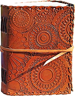 Leather Journal to Write in for Women and Men - Best Gift for Teens, Artists, Friends, Mother's Day - LEAFERS - Handmade Vintage Notebook 7x5, Travel Diary, Drawing, Poetry, at The Office