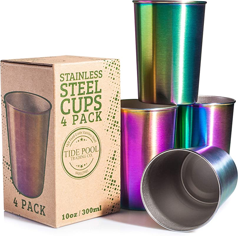 Rainbow Stainless Steel Cups 10 Oz 4 Pack Ideal For Kids Eco Friendly Healthy Food Grade Safe Drinking Glasses Durable Unbreakable For Indoor Outdoor Use BPA Free