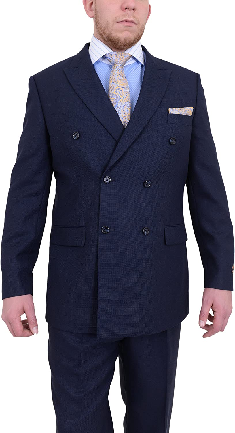 Steven Land Navy Blue Hopsack Weave Double Breasted Wool Suit