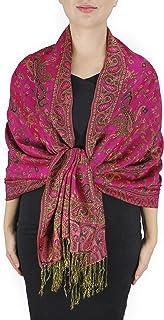 Peach Couture Elegant Double Layer Reversible Paisley Pashmina Shawl Wrap Scarf