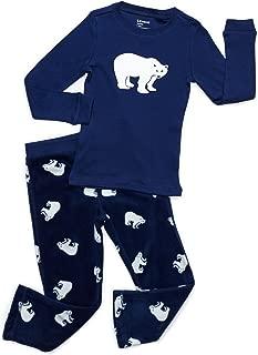 Leveret Kids & Toddler Pajamas Boys 2 Piece Pjs Set Cotton Top & Fleece Pants Sleepwear (2-14 Years)