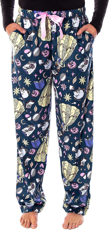 Disney Princess Women's Beauty and The Beast Allover Design Smooth Touch Fleece Sleep Bottoms Lounge Pajama Pants