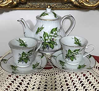 Tea for Two Porcelain Tea Set, Lily of the Valley Pattern-Tea Pot and 2 Cups and Saucers- Made in USA