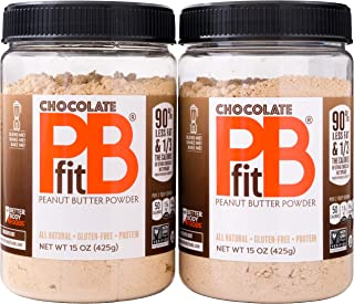 PBfit All Natural Chocolate Peanut Butter Powder, 15 Ounce (Pack of 2)