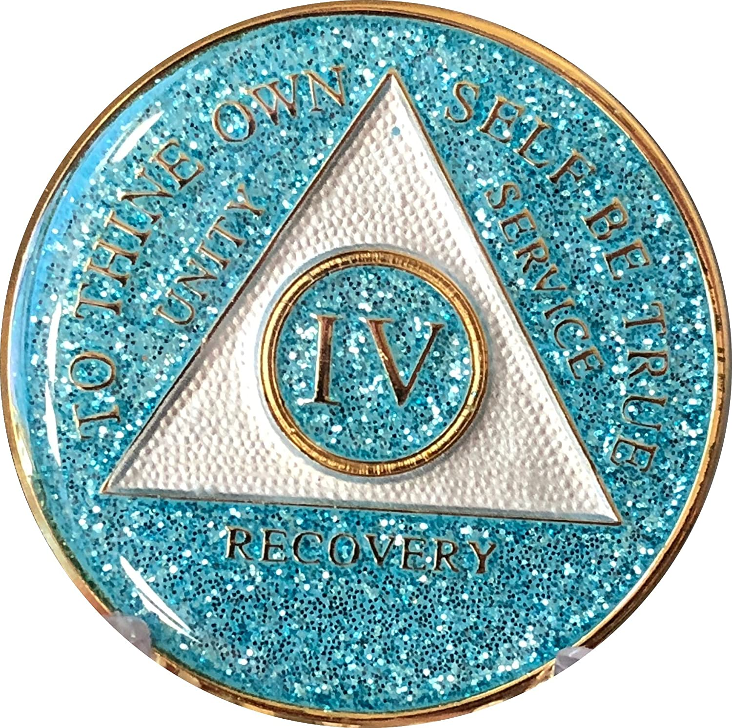 4 Year AA Medallion Indianapolis Mall Aqua Gorgeous Bling Tri-Plate Turquoise Glitter Blue