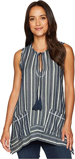 Foundry Indigo Stripe Sleeveless Top with Pockets