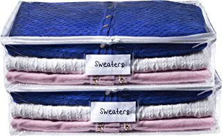Clear Sweater Storage Bag - Durable Vinyl Material to Shield Your Contents from Dust, Dirt and Moisture. Easy Gliding Zipp...