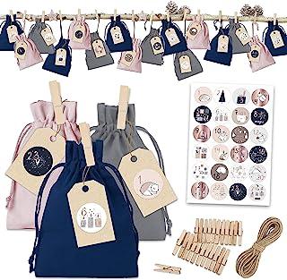 Papierdrachen 24 kalendarz adwentowy materiałowe torebki do wypełnienia - klasyczny kalendarz bożonarodzeniowy - materiało...
