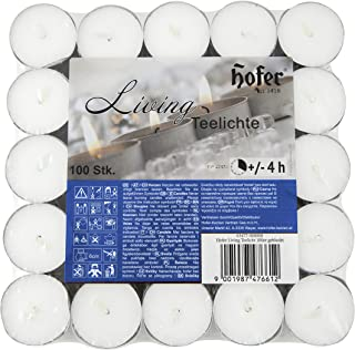 Hofer Bougies Chauffe-plat - 100 pièces - 4 heures de combustion - Cire non parfumée, sans gouttes, longue durée, qualité UE
