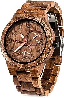 Wood Watches for Men Analog Quartz Date Retro Handcraft Lightweight Wooden Wristwatch W154A