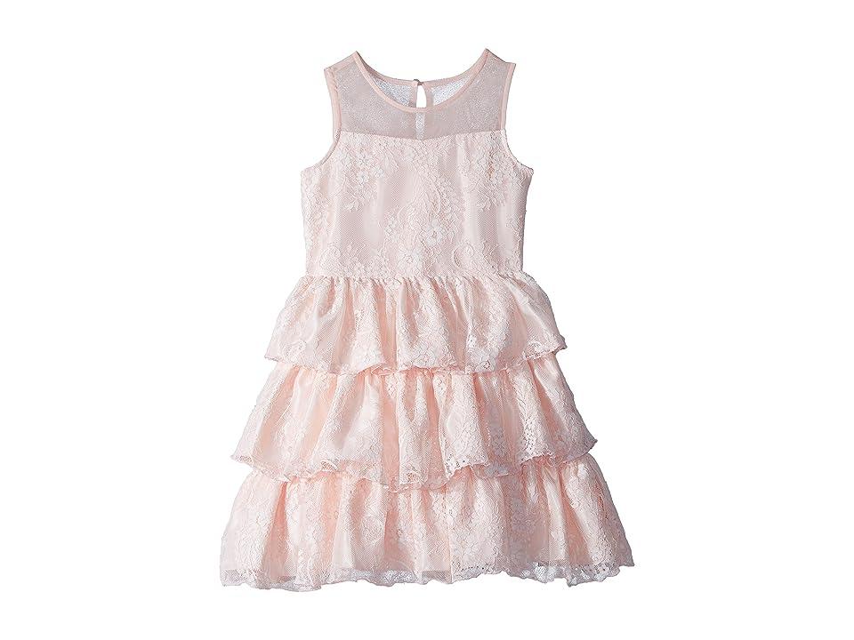 Us Angels Chantilly Lace Tiered Dress (Big Kids) (Blush) Girl