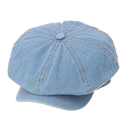 fa4ef3af0ed9ac WITHMOONS Denim Cotton Newsboy Hat Baker Boy Beret Flat Cap KR3613