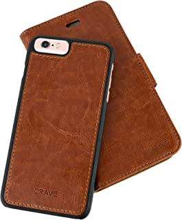 iPhone 6/6s Plus Leather Wallet Case, Crave Vegan Leather Guard Removable Case for Apple iPhone 6/6s Plus (5.5 Inch) - Dark Brown