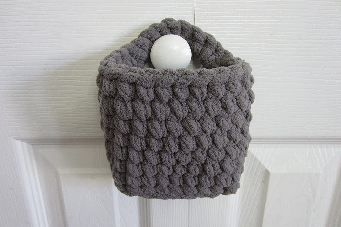 Small Hanging Basket, Rectangle Wall Baskets, Crocheted Catch All - Many Color Choices!