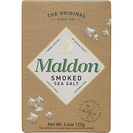 Maldon Salt, Smoked Sea Salt Flakes, 4.4 oz (125 g), 2 Count, Kosher, Natural, Gently Smoked Over Oak, Handcrafted, Gourmet, Pyramid Crystals