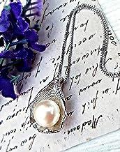 Perla genuina de agua dulce PLATA ESTERLINA 925 colgante y cadena - Collar de perlas Circón AAAA collar nupcial collar de almeja joyería de dama de honor Regalo de dia de madres