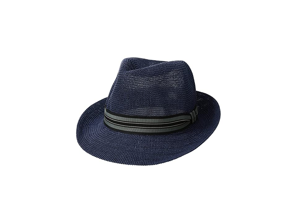 San Diego Hat Company Knitted Paper Fedora w/ Striped Grosgrain (Navy) Caps