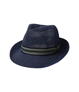 Knitted Paper Fedora w/ Striped Grosgrain