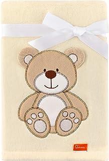 Be Mammy Kinderen Babydeken met 3D-Toepassing 76 x 102 cm BE20-168 (Ecru - Bear) (Ecru - Beer)