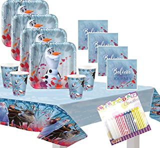 Frozen 2 Party Supplies Pack Serves 16: Dessert Plates Beverage Napkins Cups and Table Cover with Birthday Candles (Bundle for 16)