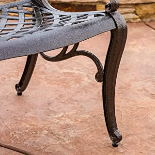 Hallandale Sarasota 5-piece Cast Aluminum Bronze Outdoor Dining Set with Mesh Chair and Round Table-top