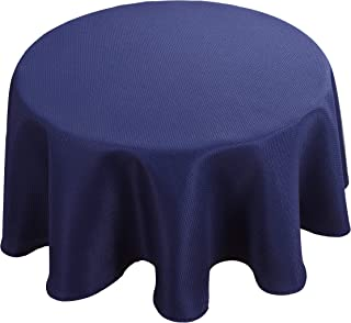 Biscaynebay Textured Fabric Table Cloth, Water Resistant Spill Proof Tablecloths for Dining, Kitchen, Wedding and Parties, Navy 60 Inches Round
