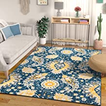 Mila Oriental Medallion Vintage Blue & Yellow Area Rug 5x7 (5'3