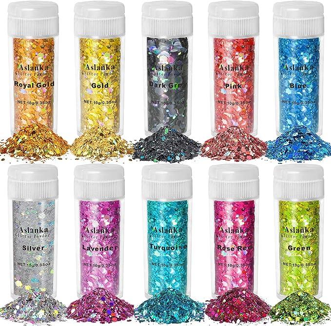 116 opinioni per Aslanka Paillettes per Unghie, Set glitter 10 colori, 100g Chunky Glitter