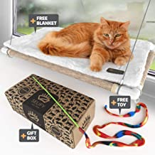 Cat Window Perch (Holds Up to 60 Lbs) – Strong, Durable Cat Perch Window Cat Bed - Custom-Engineered Suction Cups – Free Cat Window Hammock Cushion and Cat Toy – No Tools Required!
