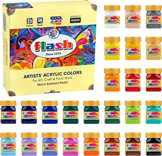 Flash Professional Acrylic Paint Set | 25 Colors | 50ml Each | High Pigment Strength | Non Fading | Indoor/Outdoor | Non T...