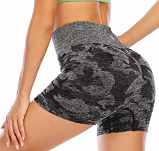 RUNNING GIRL Camo Compression Shorts for Women, Gym Seamless High Waisted Tummy Control Stretch Workout Yoga Shorts
