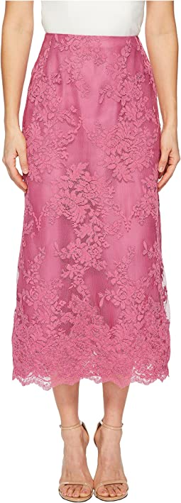 Blush Corded Tea Length Lace A-line Skirt