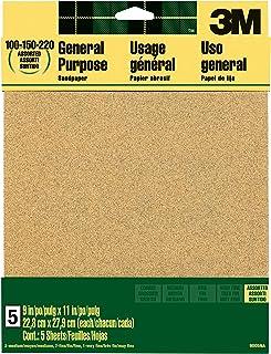 3M Aluminum Oxide Sandpaper, Assorted Grits, 9-in x 11-in...