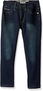U.S. POLO ASSN. Toddler Boys' Straight Leg Jean, Flex Denim Dark Washed Indigo, 2T