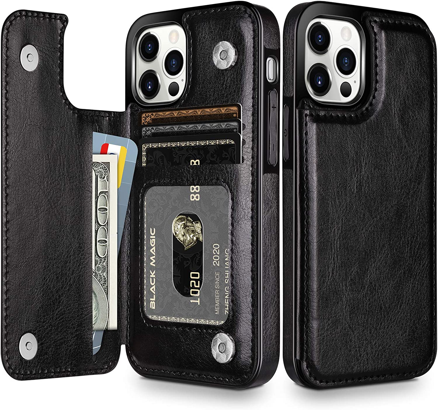 HianDier Wallet Case Compatible with iPhone 12 Pro MAX Case 5G 6.7-inch Slim Protective with Credit Card Slot Holder Flip Folio Soft PU Leather Magnetic Closure Cover, Black